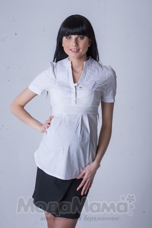 Офисная белая рубашка для беременных 73