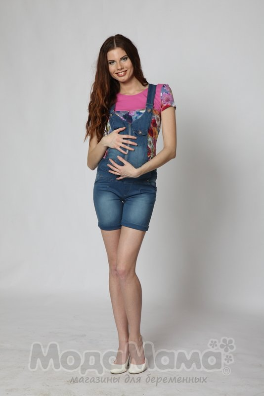 Комбинезон для беременных джинсовый с шортами 44